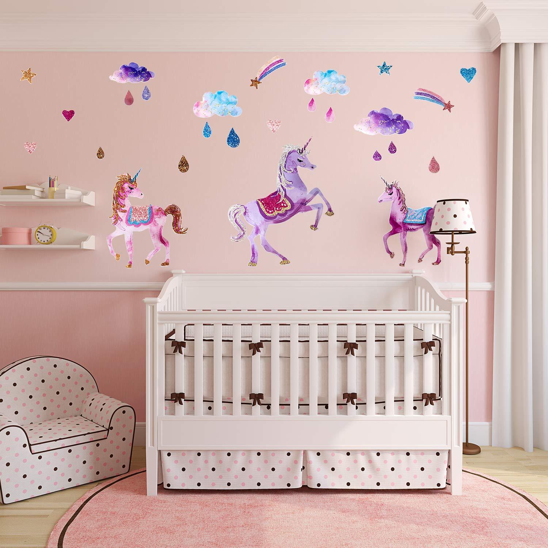 LUTER Unicorn Wall Decor Decals Unicorn Star Flower Vinyl Wall Stickers for Kids Girls Nursery Room Bedroom Decoration
