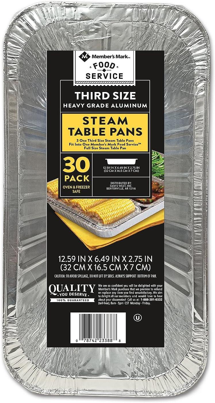 Member's Mark Aluminum Steam Table Pans, 1/3 Size (30 ct.)