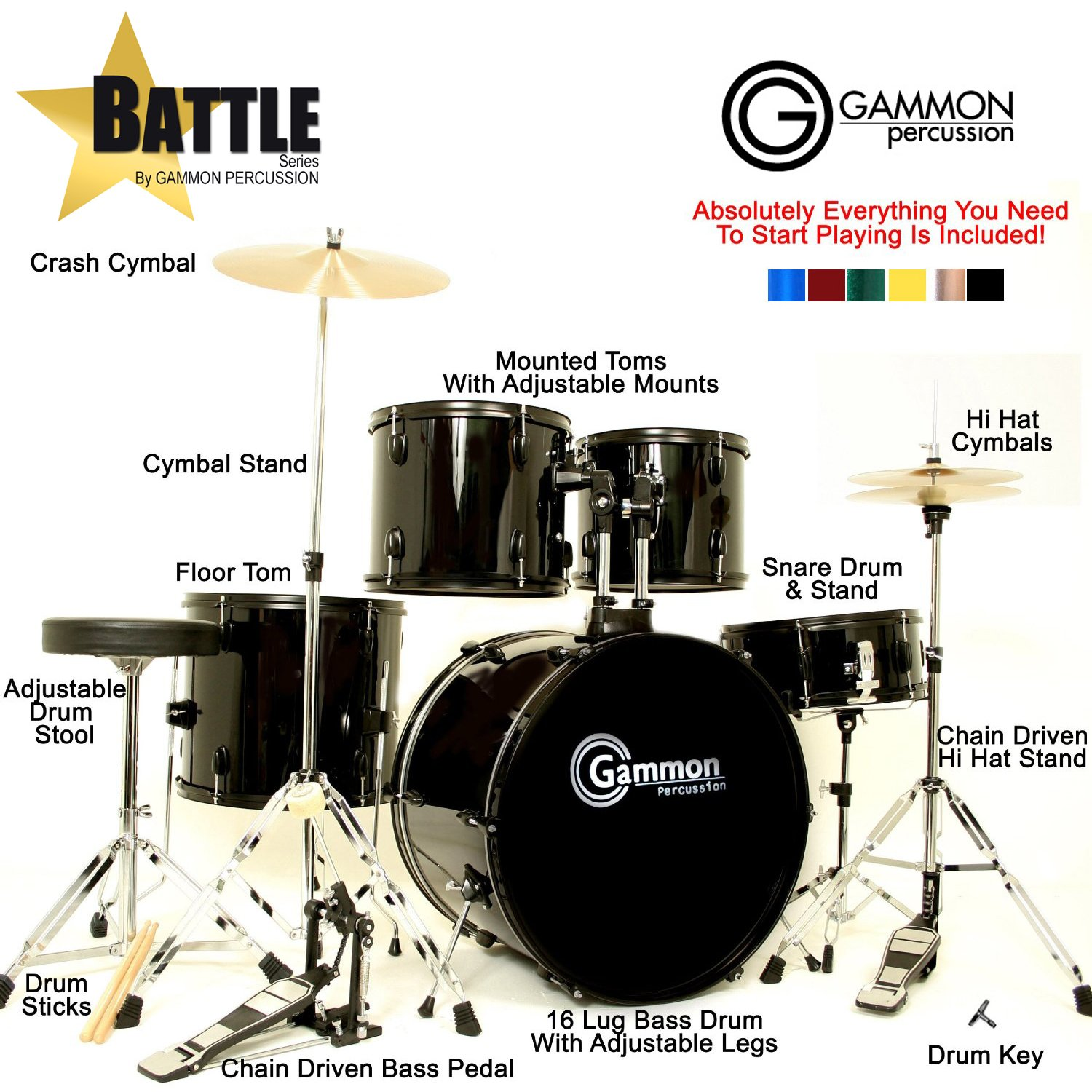 Drum Set Wine Red 5-Piece Complete Full Size with Cymbals Stands Stool Sticks by Gammon Percussion (Image #7)