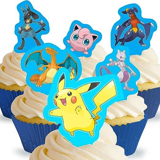 Toppershack 12 x decoración para pasteles comestibles PRECORTADAS de Pokémon