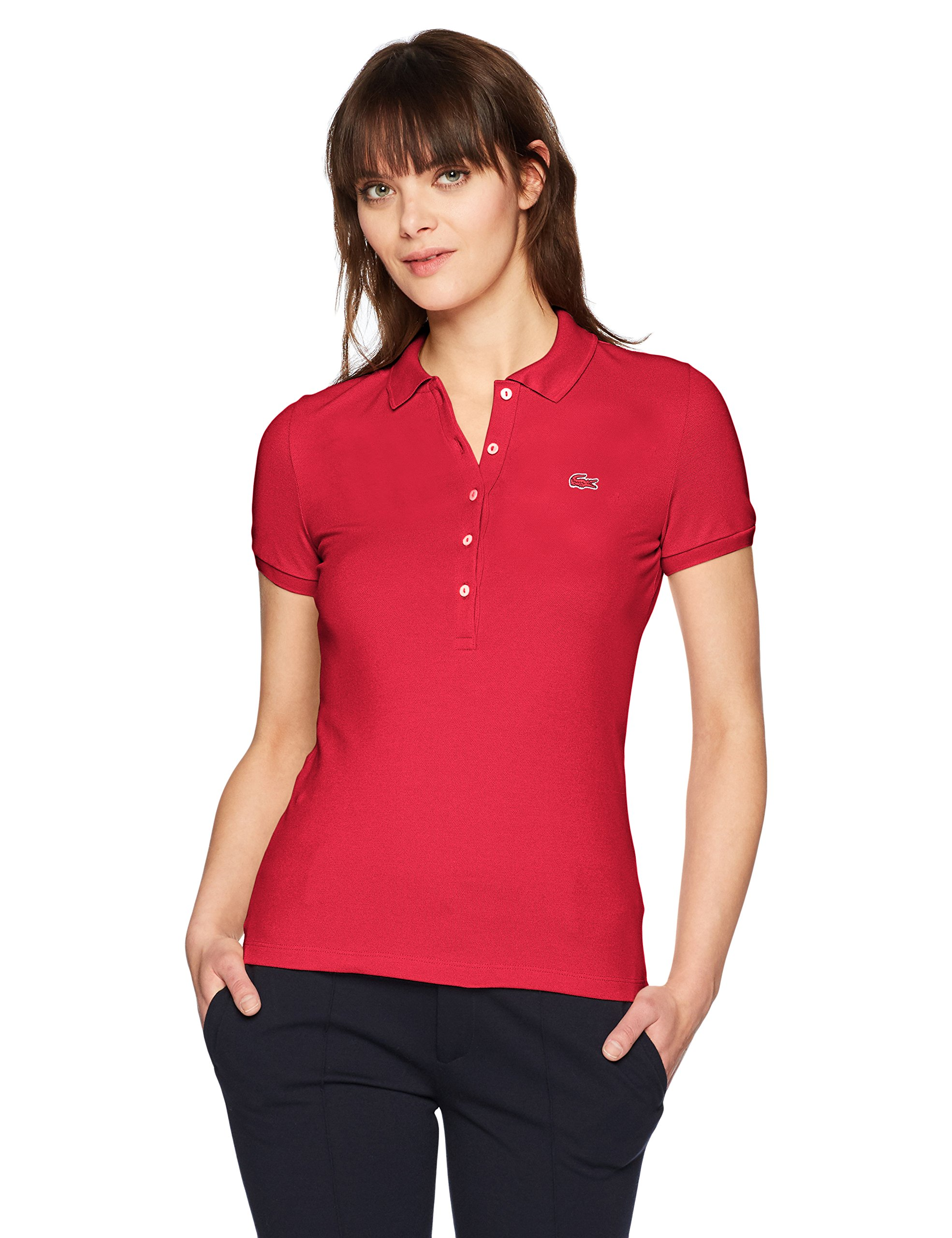 8837a0b28dc Galleon - Lacoste Women's Classic Short Sleeve Slim Fit Stretch Pique Polo,  PF7845, Toreador, 4