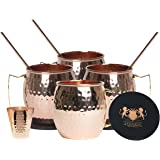 B.WEISS Moscow Mule Copper mugs barrel shape Set Of 4, Handmade Hammered mugs 100% Pure Copper Comes in an elegant box +BONUS 4 copper straws +1 copper shot glass+ 4 coasters
