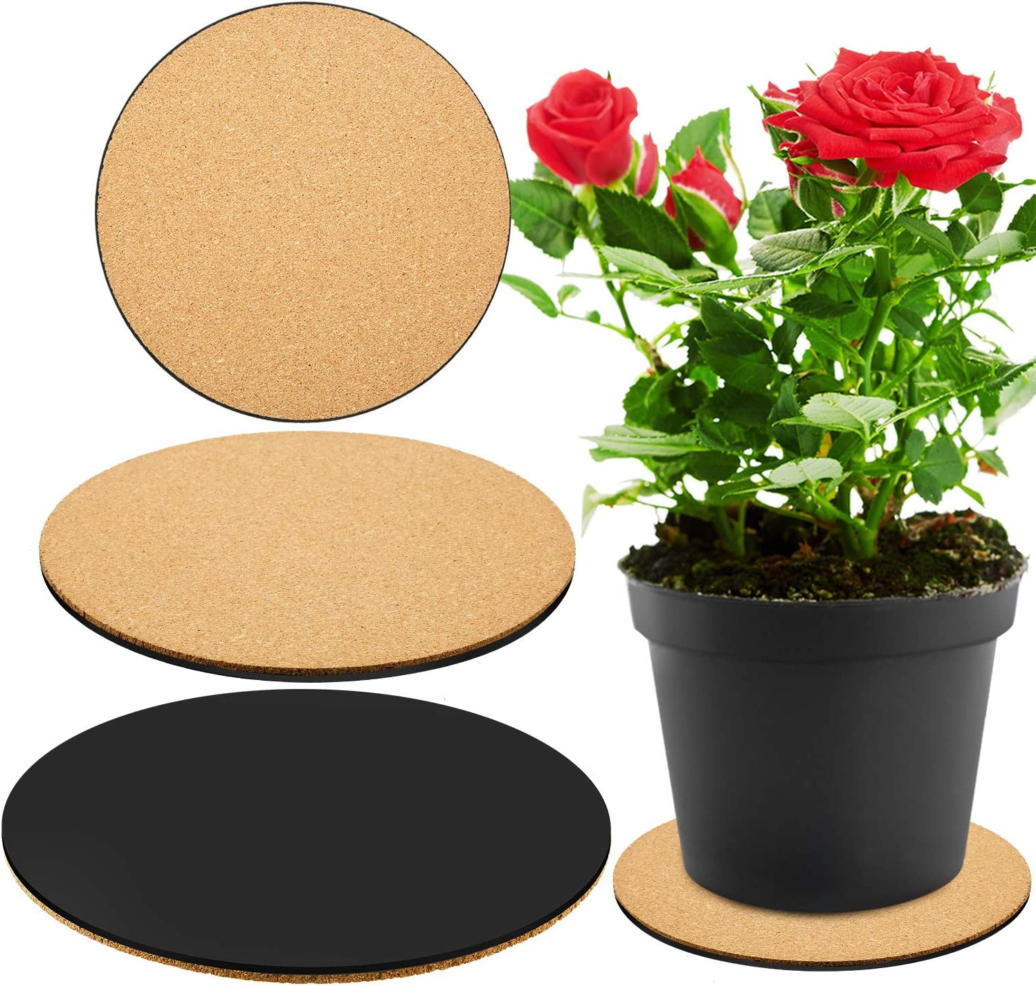 4 Inches, 6 Inches, 8 Inches DIY Craft Project 3 Pieces Cork Plant Mat Round Cork Plant Coasters DIY Cork Pad Plant Plate Pad for Gardening Indoor and Outdoor Pots