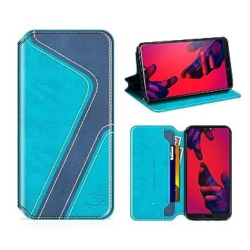 MOBESV Smiley Funda Cartera Huawei P20 Pro, Funda Cuero Movil Huawei P20 Pro Carcasa Case con Billetera/Soporte para Huawei P20 Pro - Aqua/Azul Oscuro