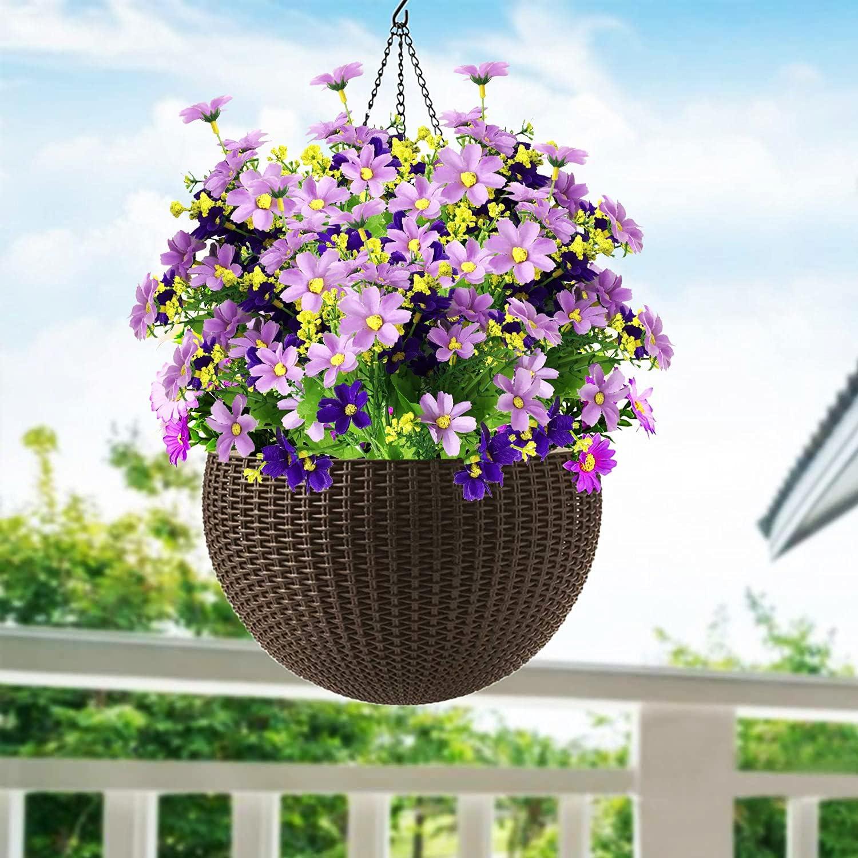 6 Bundles Artificial Flowers Silk Daisy, Fake Flowers for Home Wedding Decoration Table Centerpieces, Faux Flower for Hanging Garden Porch Window Box Décor, Without Basket (Purple)