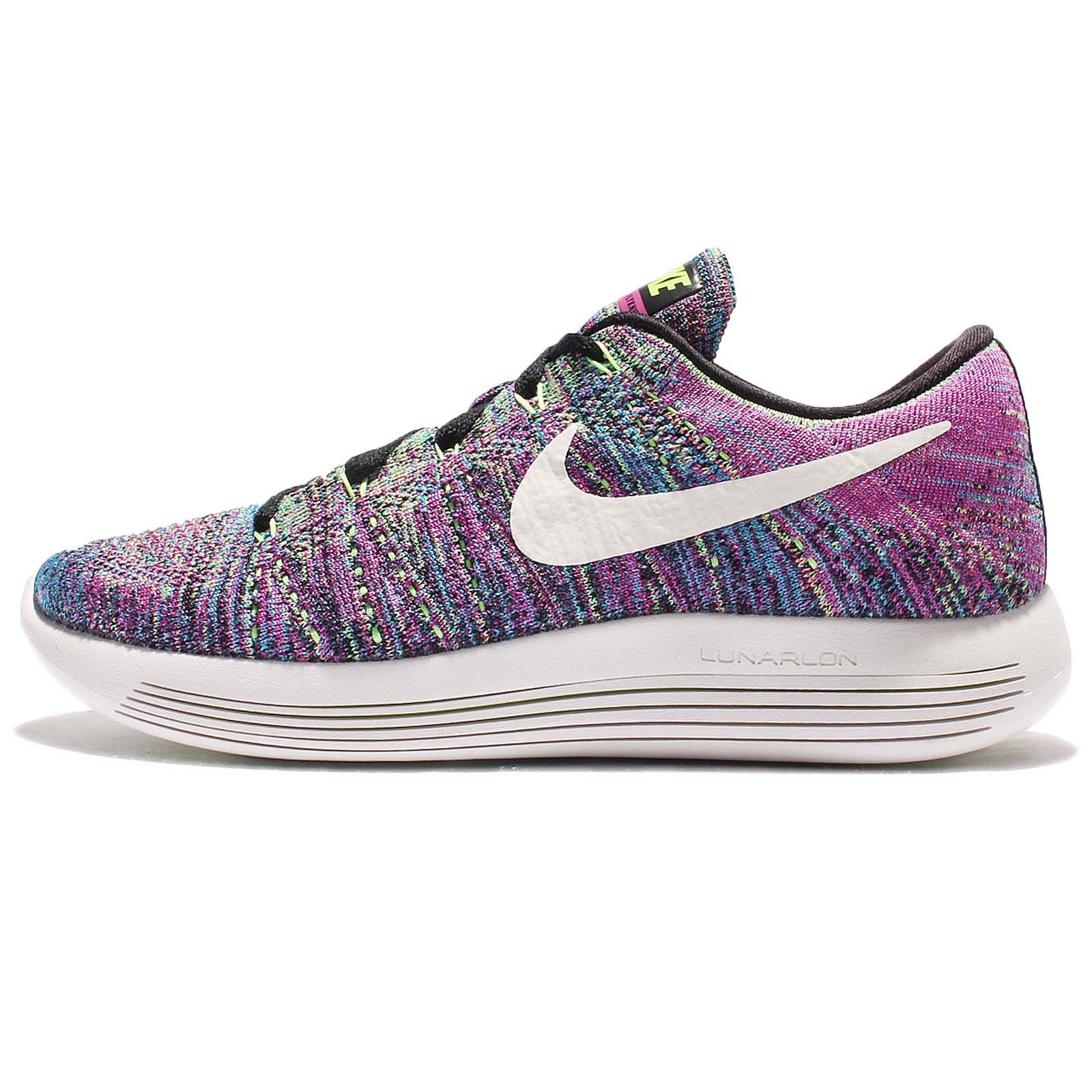 wholesale dealer 62c9a 4772f Galleon - Nike Womens LunarEpic Low Flyknit Running Shoe Black Summit White Fire  Pink Blue Glow Ghost Green 7