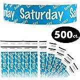 "Goldistock 3/4"" Tyvek Wristbands Saturday 500 Count (Neon Blue)"