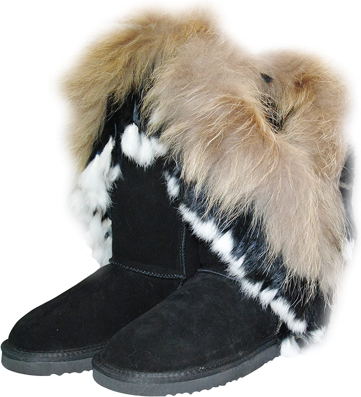OOG Echtleder Fell Boots Pelz LANGSTIEFEL Schuh Damen BOMMEL Winterstiefel SCHWARZ