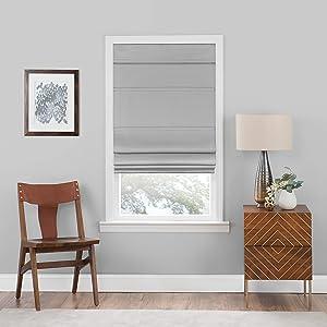 "Achim Home Furnishings, Grey Cordless Blackout Roman Window Shade, 30""x64"", 30"" x 64"""
