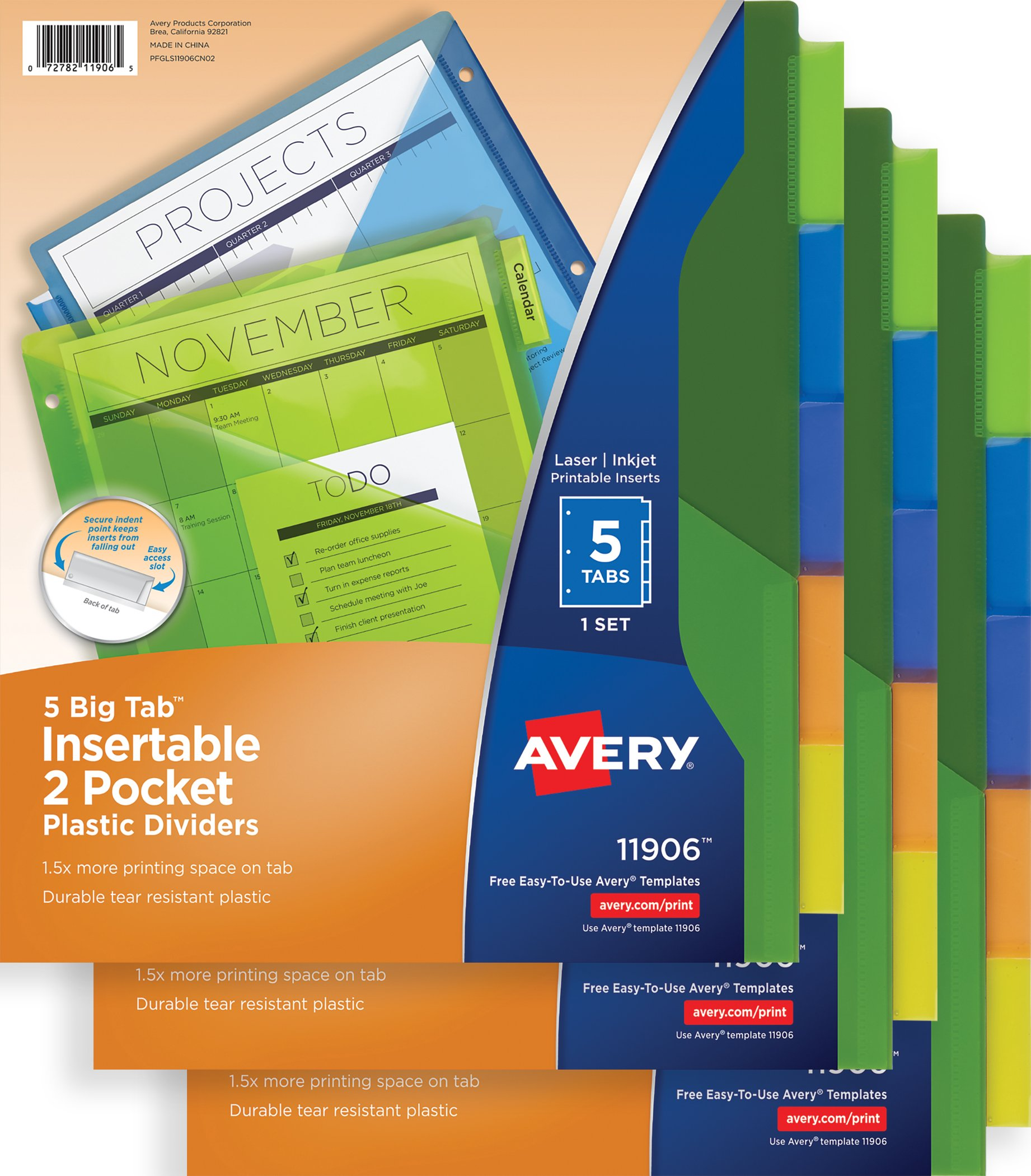 Avery Big Tab Insertable Two-Pocket Plastic Dividers, 5-Tab Set, Multicolor, Multi Pack of 3 Sets (11906)