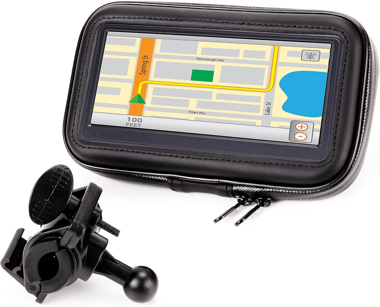 USA Gear GPS Bicicleta Soporte Movil Moto con Manillar Funda Táctil Impermeable con Visualización De 360 Grados - Compatible con Unidades Garmin, Zumo Y GPS De hasta 6.75 Pulgadas