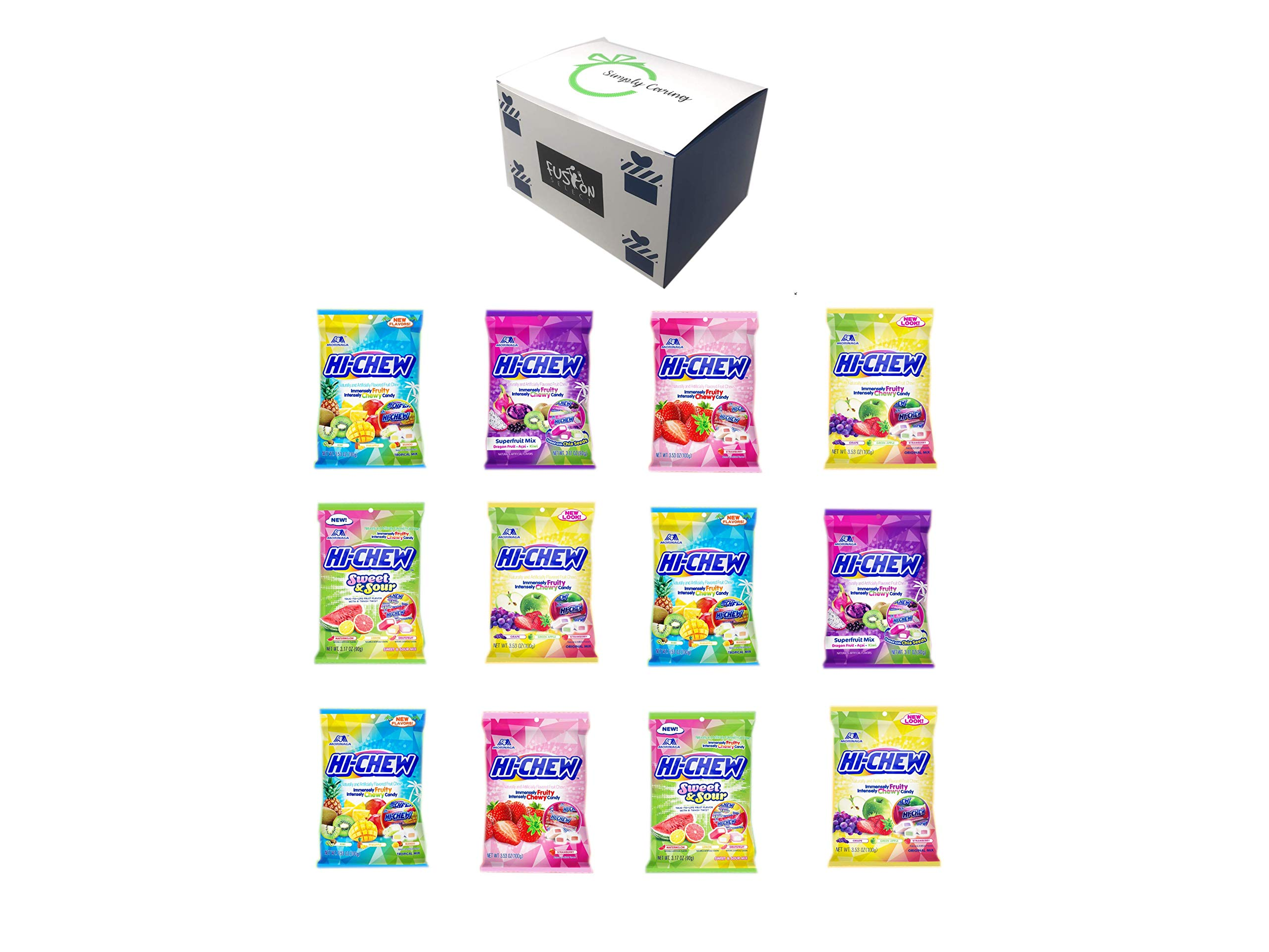 Hi Chew Candy Variety Pack 5 Flavors ( Superfruits, Sweet and Sour, Tropical Mix, Original Mix, and Strawberry) Pack of 12 - in Fusion Select Gift Box by Fusion Select