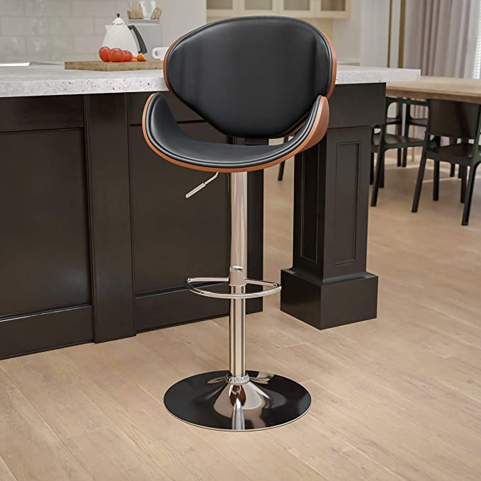 Flash Furniture Walnut Bentwood Adjustable Height Barstool With Curved Back And Black Vinyl Seat Furniture Decor