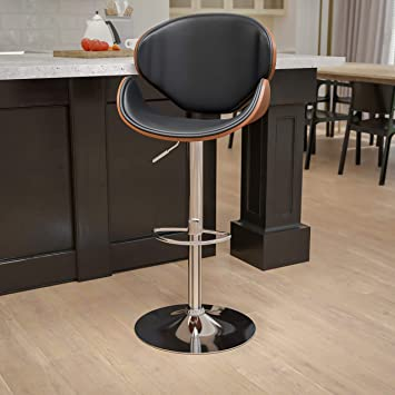 Flash Furniture Walnut Bentwood Adjustable Height Bar Stool With Curved Black Vinyl Seat And Back Amazon Ca Home Kitchen