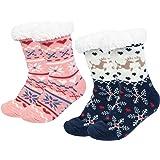 2 pares Calcetines Antideslizantes Invierno, Calcetines Mujer Divertidos Animal, Calcetines Térmicos Navideños Copo de…