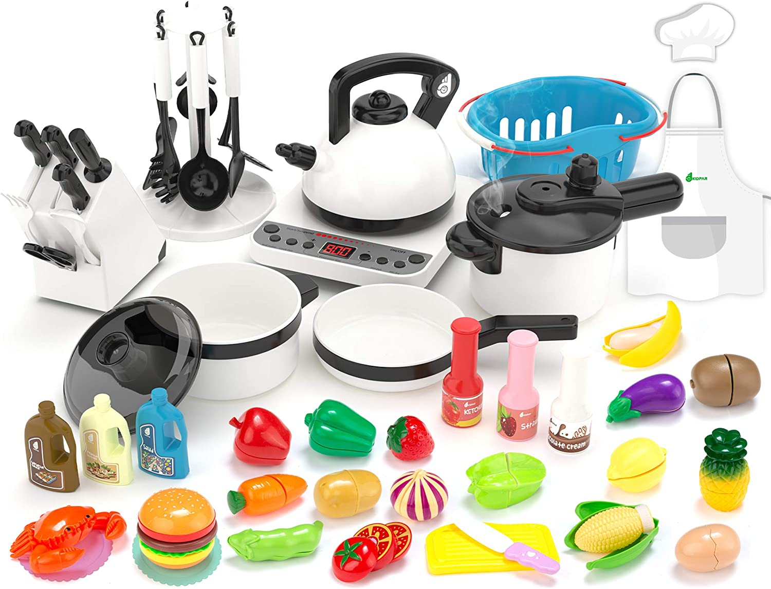 Cutting Fruit Toy Cutlery for Kids Girls Boys Toddlers Kids Kitchen Toy Pressure Pot and Electric Induction Cooktop Pan Cooking Set Toy with BBQ 43PCS Kitchen Playset Pretend Toy Shopping Basket