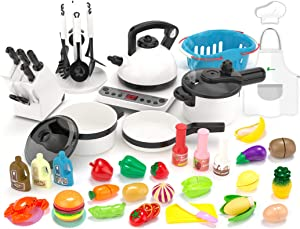 KIDPAR 52PCS Kitchen Play Toy,Kids Pretend Cooking Kit with Cookware Playset Steam Pressure Pot and Electronic Induction Cooktop,Chef's Apron,Toy Cutlery,Xmas Holiday Learning Gift for Girls Boys