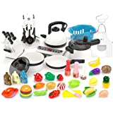 KIDPAR 52PCS Kitchen Play Toy,Kids Pretend Cooking Kit with Cookware Playset Steam Pressure Pot and Electronic Induction Cook