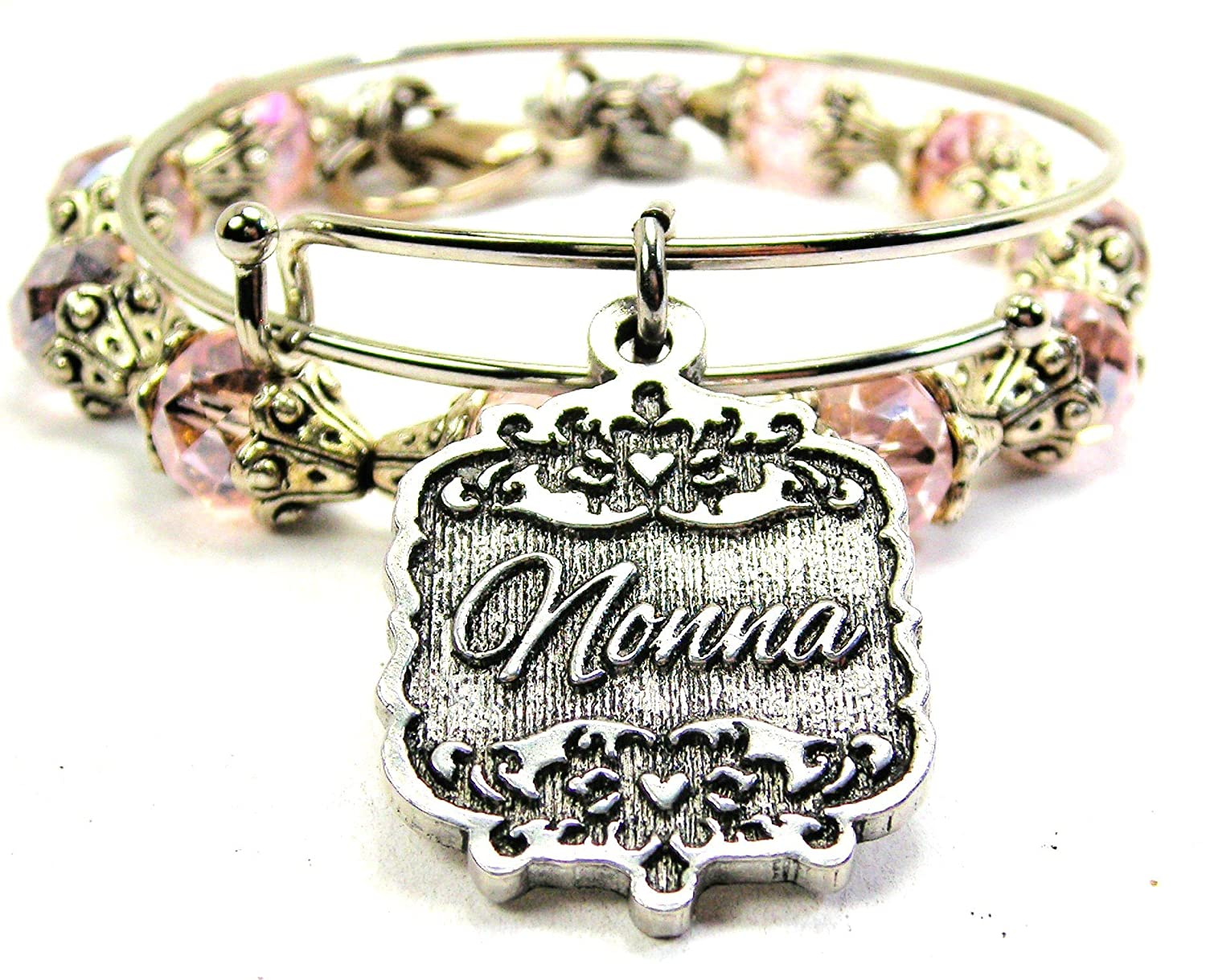 Chubby Chico Charms Nonna Victorian Scroll Crystal Collection Bracelet Set in Lavender Purple