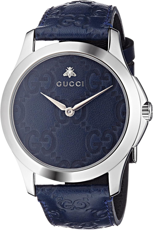 Gucci Reloj Análogo clásico para Unisex de Cuarzo con Correa en Cuero YA1264032