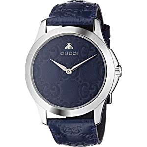 6d226b7cbed Gucci Quartz Stainless Steel and Leather Casual Blue Watch (Model   YA1264032)