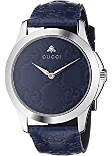 Gucci Quartz Stainless Steel and Leather Casual Blue Watch (Model: YA1264032)