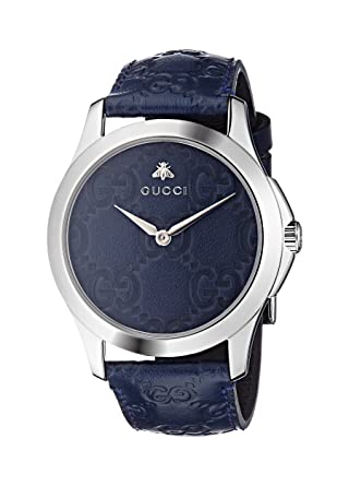 ed9e69af444 Amazon.com  Gucci Quartz Stainless Steel and Leather Casual Blue Watch  (Model  YA1264032)  Watches