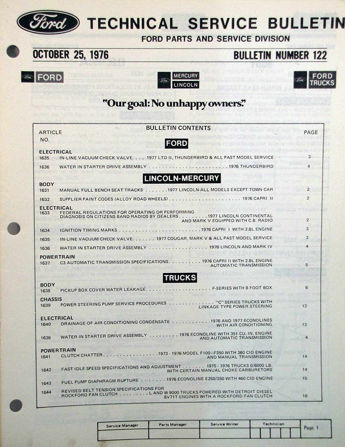 Amazon.com : Ford Technical Service Bulletin #122 dated October 25, 1976 :  Everything Else