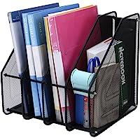 TOROTON 4 Compartimentos Revistero archivador de Malla metálica, Estante para Escritorio Archivadores de revistas, para…