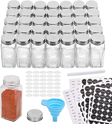 Amazon Com Aozita 36 Pcs Glass Spice Jars With 810 Spice Labels 4oz Empty Square Spice Bottles Shaker Lids And Airtight Metal Caps Chalk Marker And Silicone Collapsible Funnel Included Condiment Pots