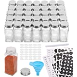 Aozita 36 Pcs Glass Spice Jars with 810 Spice Labels - 4oz Empty Square Spice Bottles - Shaker Lids and Airtight Metal Caps -