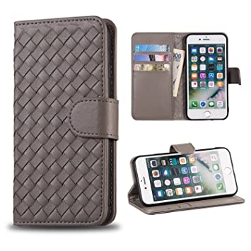 44503390e4 iPhone8 / iPhone7 ケース 手帳型 編み込み 3枚カード収納 スタンド機能 ストラップ穴付き
