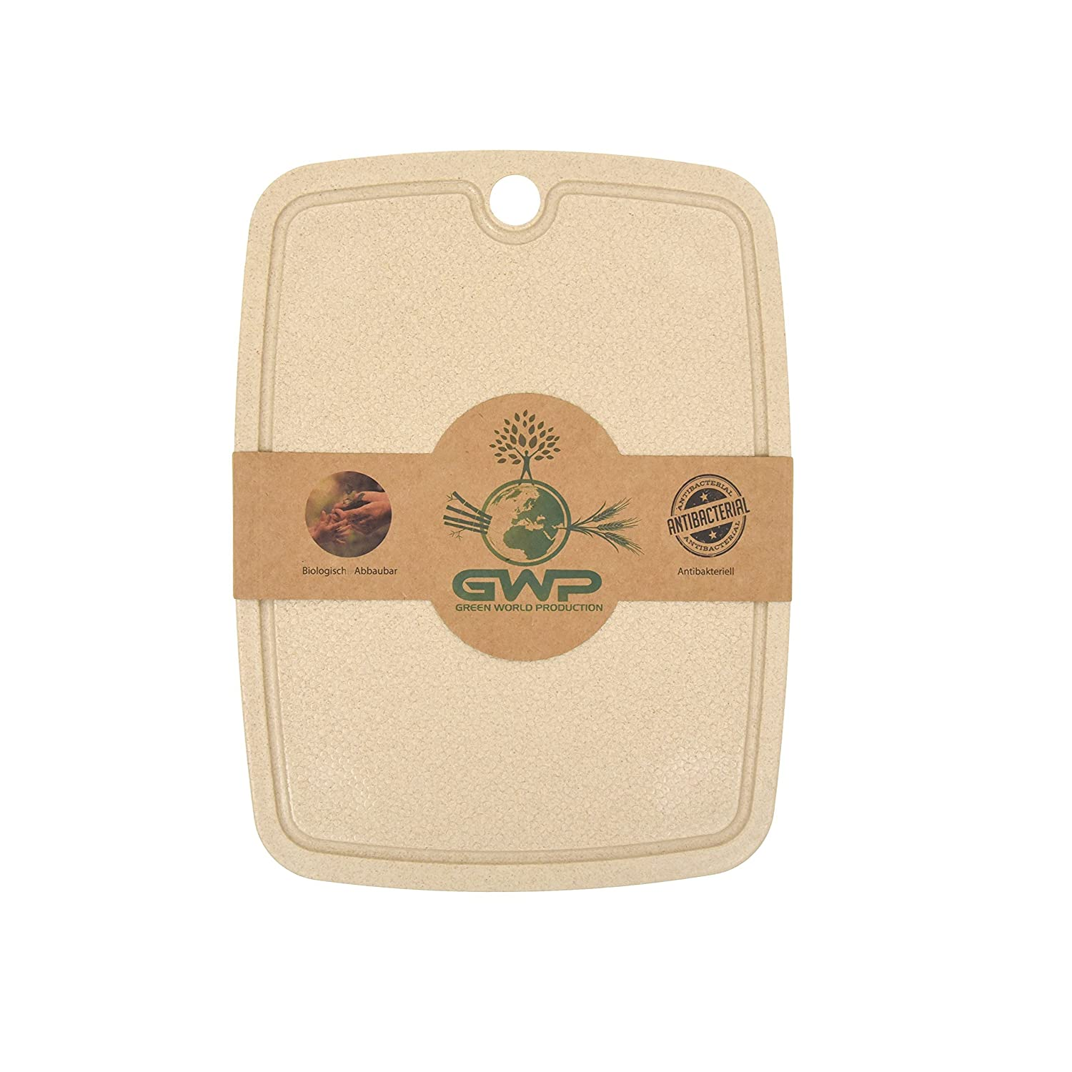 Green World production | 100% Organic | Anti-Bacterial Chopping Board and Carving Board with Juice Groove Kitchen Board Ideal for Cutting, Cooking, Baking | Chopping Board–Bread Board Serving Board with Non-Slip Feet Available in Various Sizes, 25x15 cm