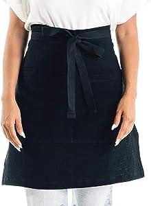 CALDO Linen Bistro Cafe Apron - Professional Grade with 3 Pockets, Half Kitchen Apron Mid Length 23 x 23, 40 Inch Waist Ties - Durable Unisex Uniform- Server or Chef (Black)