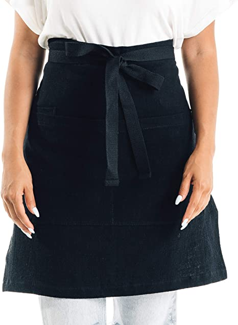 ROTANET Waist Apron//Half Apron with 3 Pockets Professional Grade for Home or