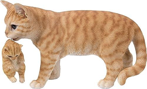 Hi-Line Gift 87757-N Mother Cat Carrying Kitten-Orange Tabby - a good cheap garden statue