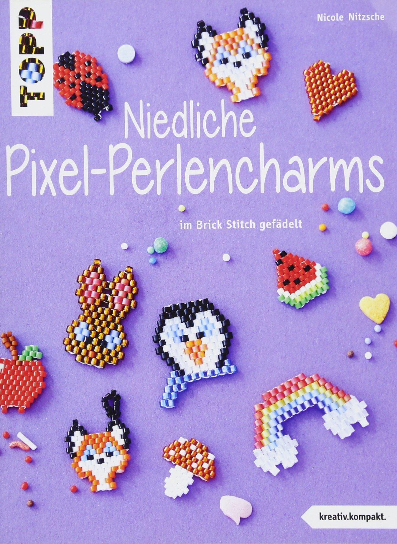 Niedliche Pixel-Perlencharms (kreativ.kompakt.): im Brick Stitch gefädelt