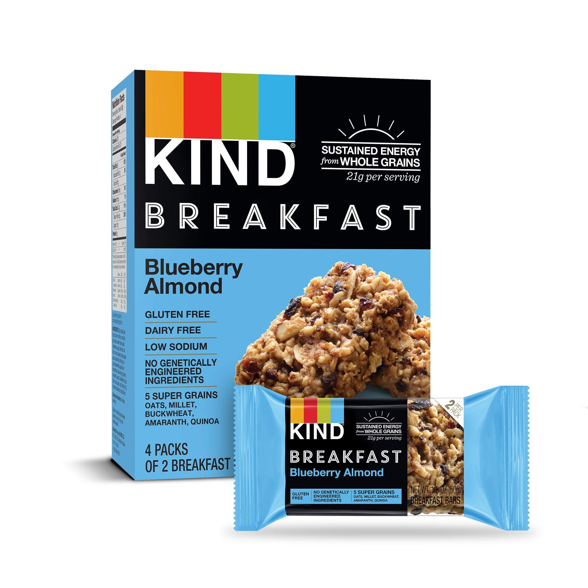 KIND Breakfast Bars, Blueberry Almond, Gluten Free, 1.8 Ounce, 32 Count by KIND