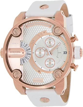 Diesel DZ7271 sba oversize rose gold-tone/white dial leather strap unisex watch NEW