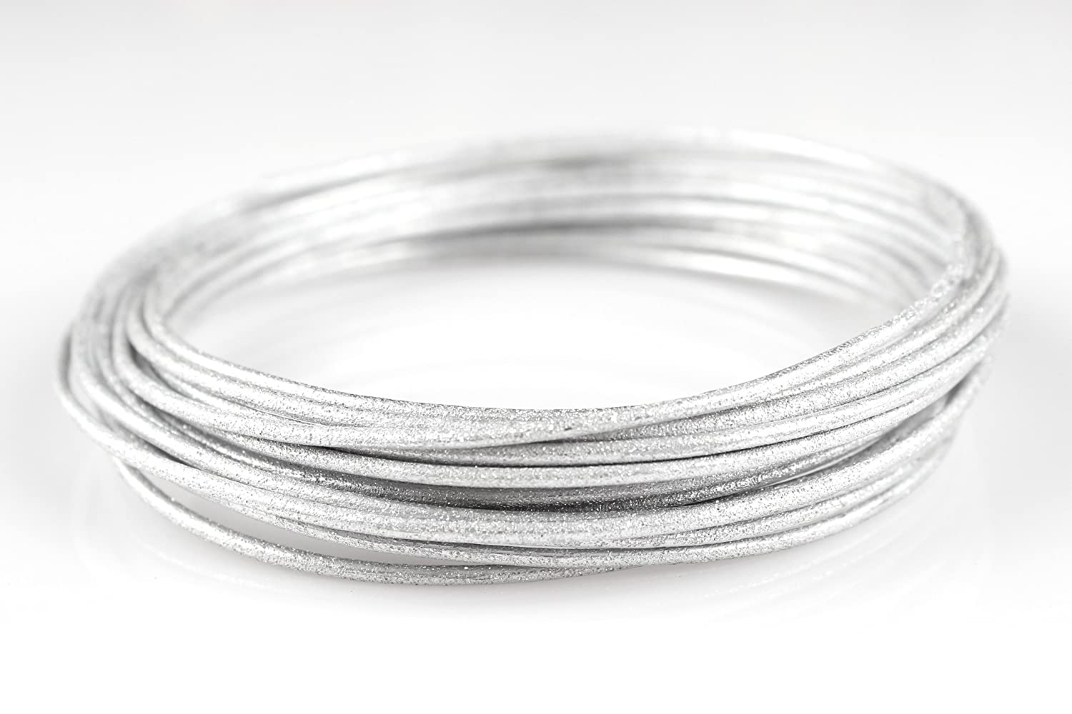Creacraft Beading Style Wire - Aluminium Wire with Structured Surface (Diamond Cut 1, Silver)