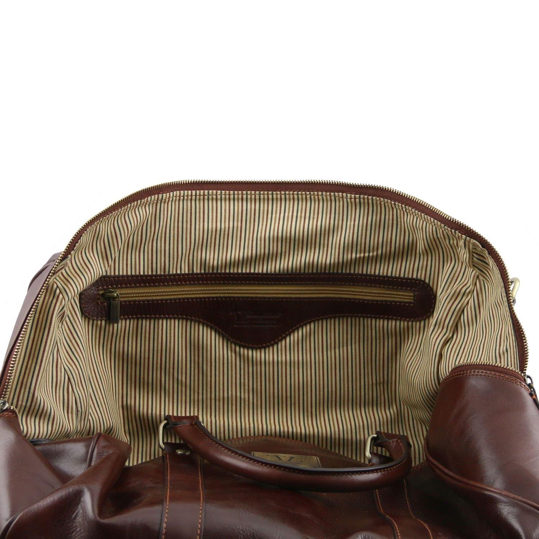 TL Voyager - Borsa da viaggio in pelle con tasca sul retro - Misura piccola Testa di Moro: Amazon.es: Equipaje