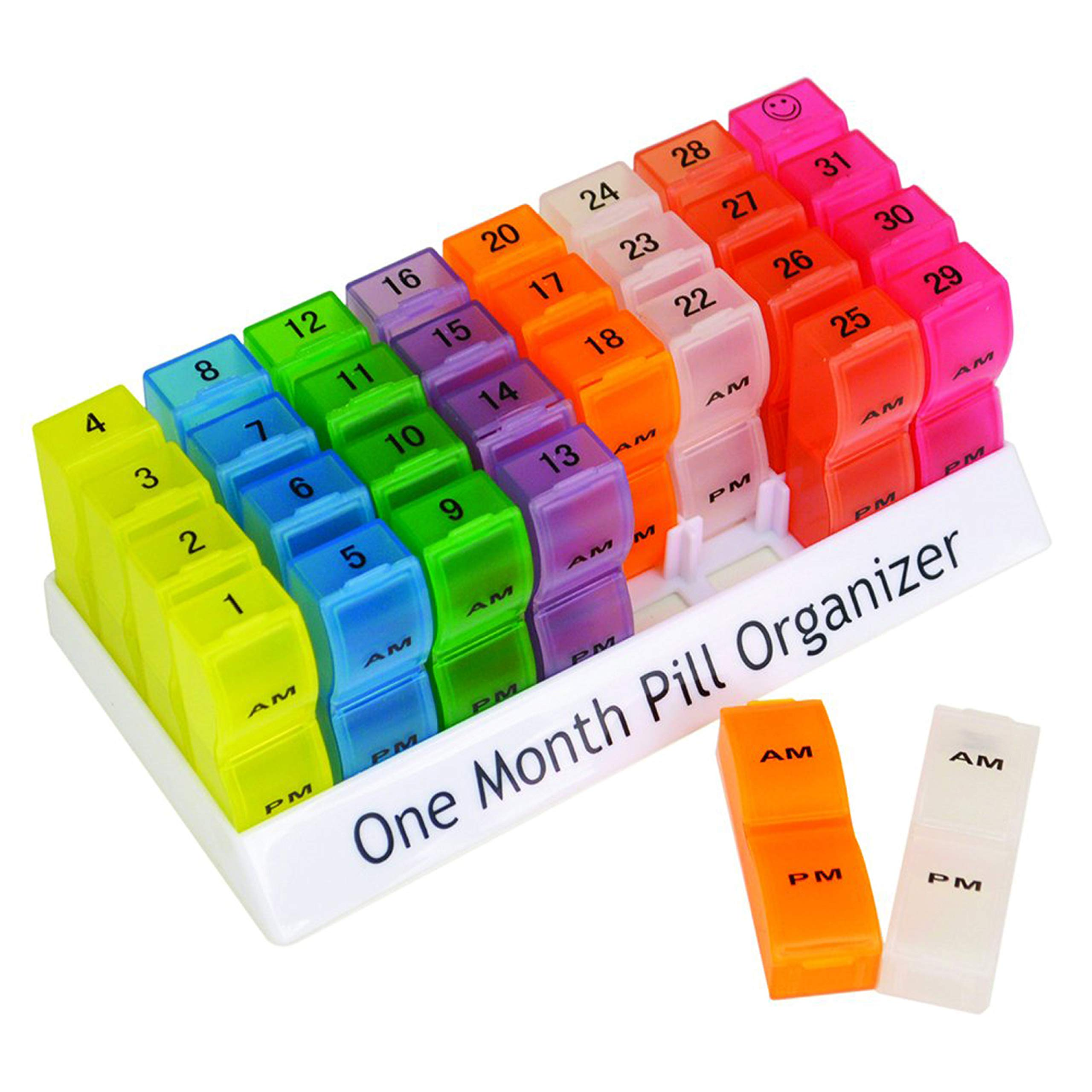 Deke Monthly pill organizer box. 32 compartments/boxes AM-PM daily pill organizer/each day.Pillbox medicine holder case dispenser. Supplement, medication, pills, vitamin. Small travel individual cases by Deke Home