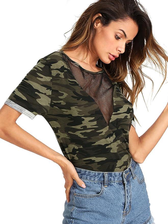 3e187569a39d9 Romwe Women s Casual Sheer Mesh V Neck Short Sleeve Camo Print Tee Shirt  Tops at Amazon Women s Clothing store