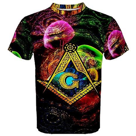 ee8a6cc13 Masonic Freemason Magic Trippy Hippie Psychedelic Full 3D Sublimation Men  T-Shirt Full 3D Custom