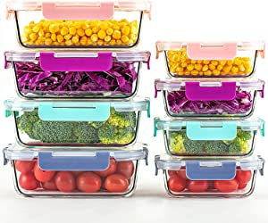 UMIZILI [8 Pack, 4 Colors] Glass Food Storage Containers with Colorful Lids, Meal Prep Lunch Boxes, Leak Proof & Airtight