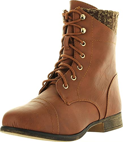 Smart30 Military Leatherette Sweater Cuff Lace Up Zipper High Top Ankle Boots