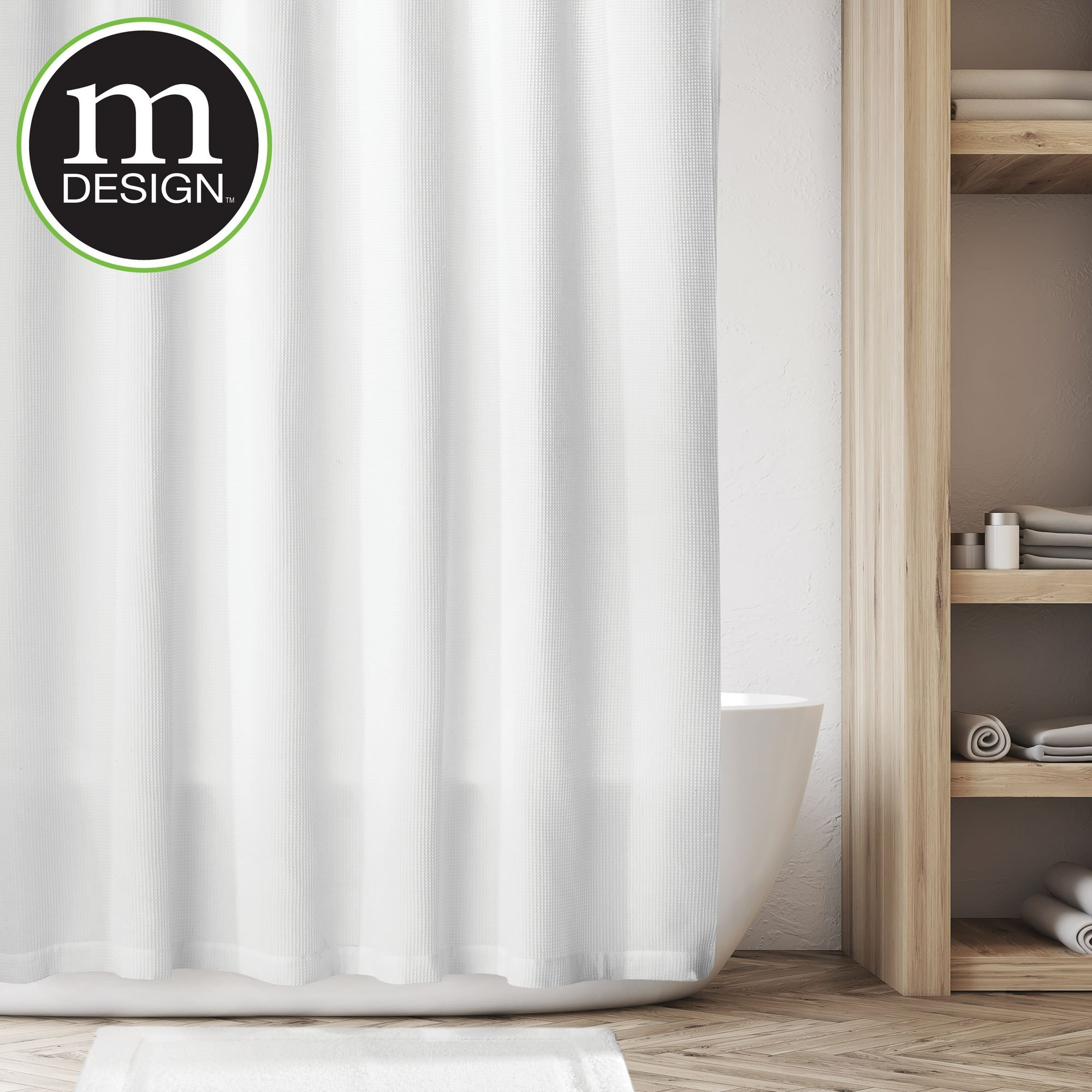 mDesign Hotel Quality Premium Waffle Weave Cotton Fabric Shower Curtain with Reinforced Buttonholes - for Bathroom Showers and Bathtubs, Super Soft, Easy Care - 72'' x 72'', White