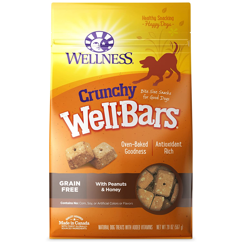 20-Ounce Box Wellness WellBars Crunchy Wheat Free Natural Dog Treats, Peanuts & Honey, 20-Ounce Box