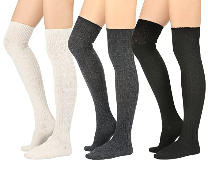 862f02704d6e6 STYLEGAGA Winter Wool Cable Knit Over The Knee High boot Socks (One Size: XS