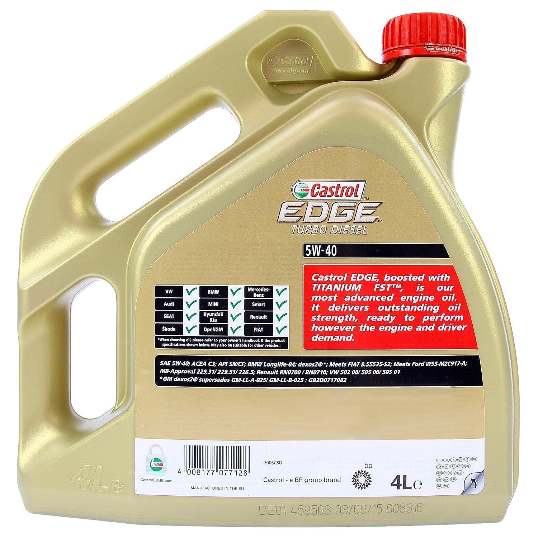 CASTROL EDGE TITANIUM FSTTM 8 L Diesel Turbo 40 5W-Aceite de Motor ACEA Abejas SN C3/CF, VW 502 00 00 505/505/01; BMW LONGLIFE-04; MB-NORMA 226,5/229,31/229 ...